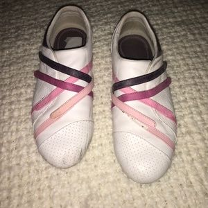 Women's Lacoste Casual Flats S10 White, pink strip